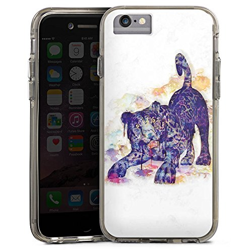 Apple iPhone 7 Bumper Hülle Bumper Case Glitzer Hülle Wasserfarbe Leopard Bumper Case transparent grau