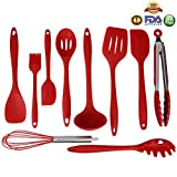 Silicone Kitchen Utensils Set of 10 Pieces Cooking Utensils ,Heat Resistant Baking Spoonula ,Brush,Whisk,Large and Small Spatula,Ladle,Slotted Turner and Spoon,Tongs,Pasta Fork Red by Ningmi