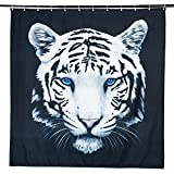 Cortina de baño de poliéster impermeable negro tigre cortina de ducha con 12 anillos (180*200cm)