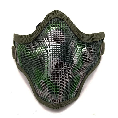 Ecloud Shop® Tactical Airsoft Schablone Stahl Metal Mesh Lower Half Face Mask Tarnung (Mesh-pj)