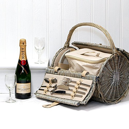 75cl Moet et Chandon Champagne in a Harrington Wicker Barrel 2 Person Picnic Basket Hamper with Zipped Chiller Bag - Gift ideas for Birthday, Anniversary and Congratulations Presents