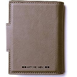 ANTONIO MIRÓ Tarjetero Piel para 20 compartimentos - Satisfacción Garantizada - Presentación caja con logotipo ideal para regalo (Marrón Claro)
