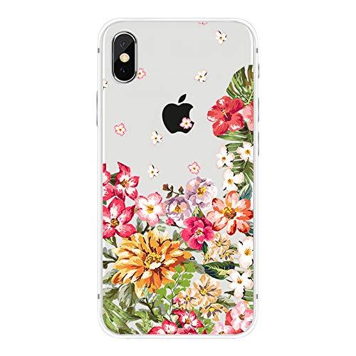 FancyCase Schutzhülle für iPhone XR, mit Blumenmuster, weiches TPU, transparent, Bright Flower Petals