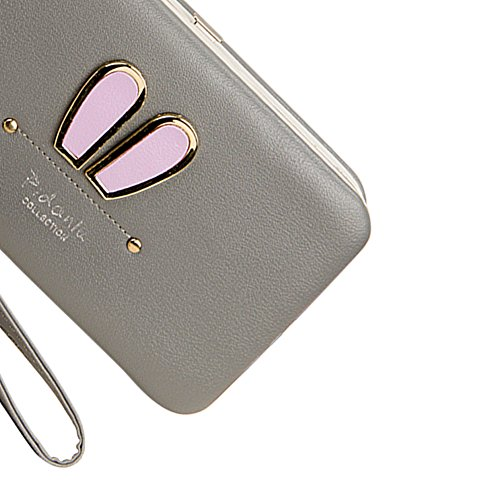 """Portefeuille Femme [Grande Capacité] Porte-passeport 6.77 """"x 3.62"""" x 0.98 """" (17.2cm x 9.2cm x 2.5cm), Vandot Universal Pochette pour iPhone X/8/8 Plus /7/7Plus /6S/6S Plus/6/6Plus/SE/5S, Galaxy S8 Plu Oreilles de Lapin-Gris"""