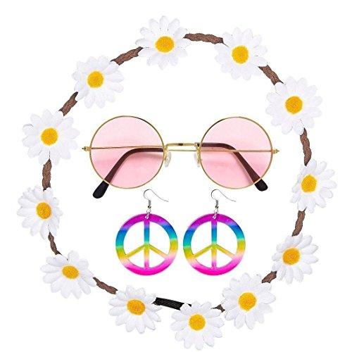 Islander Fashions Hippie Hippie Floral Daisy 60er Friedensfest 4 St�ck Set Zubeh�r One Size