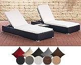 CLP 2x Polyrattan Sonnenliege NADI inkl. Tisch I 2x Wellnessliege mit verstellbarer Rückenlehne I in verschiedenen Farben erhältlich cremeweiß, Schwarz