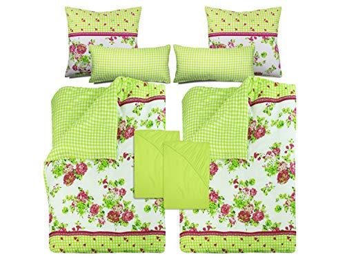 npluseins Athene Bettwäsche-Set - 8-teiliges - Landhausstil in vielen Farben 766.980, grün