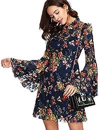 aa1cac8197d69 SOLYHUX Mujeres Elegante Vestido A línea Transparente de Verano De Manga  Acampanada con Estampado