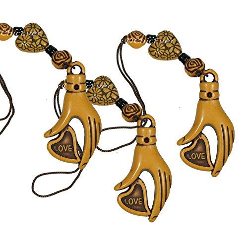 ChicEver 3x Amuleto de la Suerte Mano & Corazón de Resina, de Telefono, Bolsa Colgante, Llavero, SE-7338