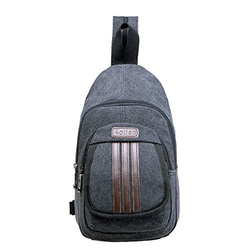 BULAGE Taschen Lässig Männer Brusttaschen Leinwand Schultern Rucksack Mehrzweck- M-Paket Gut Aussehend Reisen Wild Outdoor Sport Black