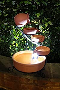 Small Solar Powered Water Feature Terracotta Jug and Bowls PC100