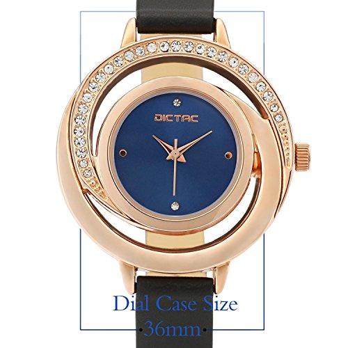 Dictac Legierung Damen Armbanduhr mit echtem Leder-Armband höltes Gold Zifferblatt Swarovski Kristalldiamanten japanische Bewegung ROHS Zertifizierung 30 Meter wasserdichte (RoseGold)