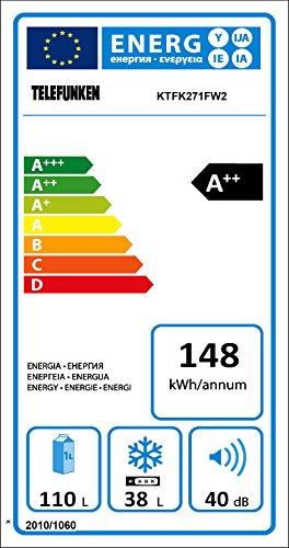 Telefunken KTFK271FW2 Kühl-Gefrier-Kombination /110 L Kühlschrank / 38 L Gefrierschrank / 148 kWh/Jahr / Temperaturregelung / Abtauautomatik / weiß