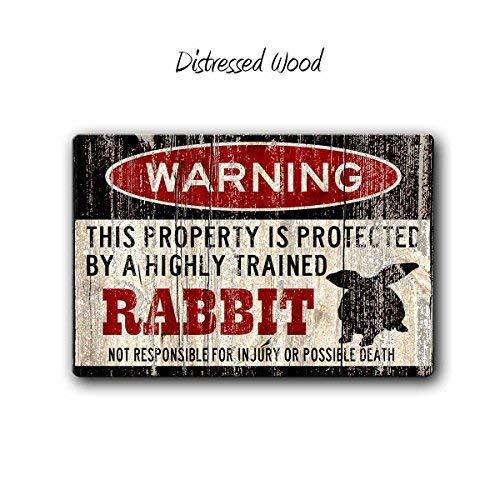 HSSS Kaninchenschild Lustige Metallschilder Kaninchen Zubehör Kaninchen Schild Lop Eared Rabbit Warnschild Haustier Geschenk Kleines Haustier Metallschild
