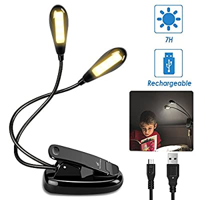 Moobibear Rechargeable 8 LED Book Lights & Dual Head Music Stand Light, 3000K Warm White Dimmable Clip On Reading Lamp for Books, Shelves, Kindle - low-cost UK light store.