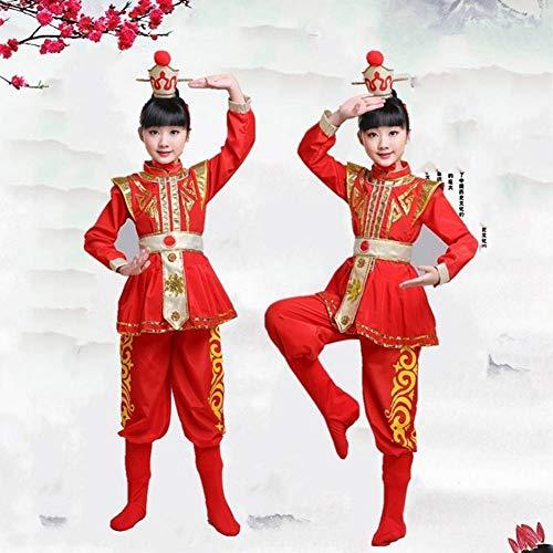 GUAN Halloween Red Mulan Kostüme Kindertrommeln Kostüme Performance Kostüme National Wind - Red Mann Anzug Kostüm