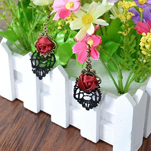 Yazilind Retro Style Lace Baumeln Rote Rose Blume Ohrring Stilvolle Schmuck Für Frauen Geschenkidee - 3