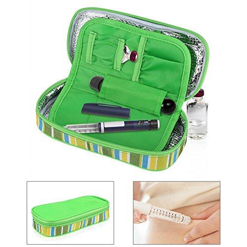 Diabetikertasche diabetischer Insulin Kühler tragender Fall Taschen Organisator medizinischer Isolierkühlung Reise Kasten (Grün)