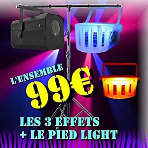 Pack dj led light - 1 gobo flower - 2 derby led - 1 pied lumiere pa dj power light jeux de lumiere