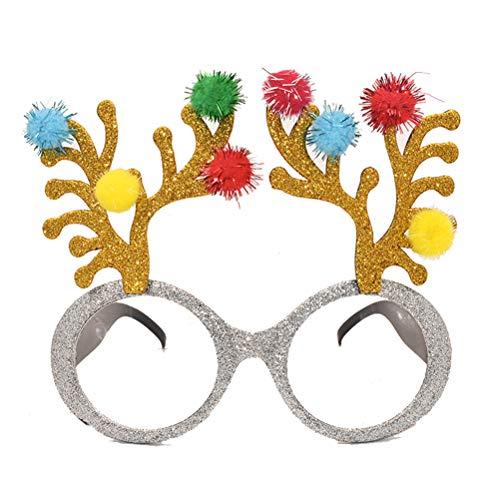 BESTOYARD Weihnachten Brille Lustige Rentier Geweihe mit Bommel Brille Rahmen Kostüm Brillen Weihnachtsfeier Gastgeschnek