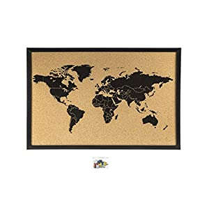 Corcho mapamundi negro, 60 x 40cm