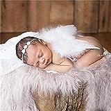 Baby Neugeborene Fotoshooting Kostüm Engelsflügel Fotografie Prop Engel Feder mit Blumen Haarband