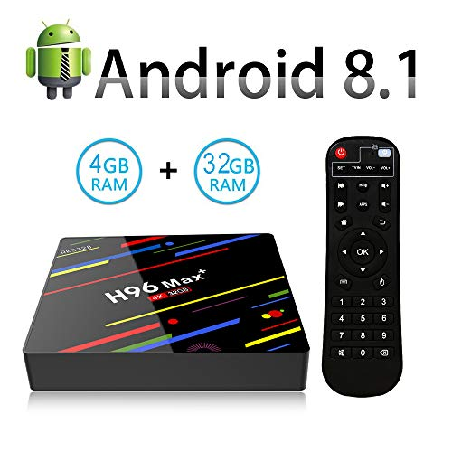YUZEU H96 Max+ Smart TV Box Android 8.1 mit 4GB DDR3 + 32GB ROM, RK3328 Quad-Core 64bit Cortex-A53, 2.4G WiFi /100M LAN/4K/ H.265 /Fernbedienung USB3.0