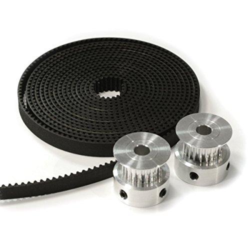 HICTOP 3D-Drucker 2 Stück Aluminium GT2 20T Synchronriemenscheiben und 2 Meter 6mm Gurt für CNC Reprap Prusa i3
