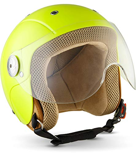 "Soxon® SK-55 \""Neon\"" · Kinder-Jet-Helm · Kinder-Helm Motorrad-Helm Roller-Helm Kids Scooter-Helm Vespa Bobber Mofa-Helm Chopper Retro Cruiser · ECE Visier Schnellverschluss SlimShell Tasche S (53-54cm)"