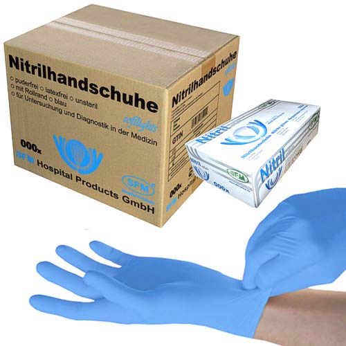 SFM ® SOFTLIGHTS Nitril : XS, S, M, L, XL blau puderfrei F-tex Einweghandschuhe Einmalhandschuhe Untersuchungshandschuhe Nitrilhandschuhe M (1000)