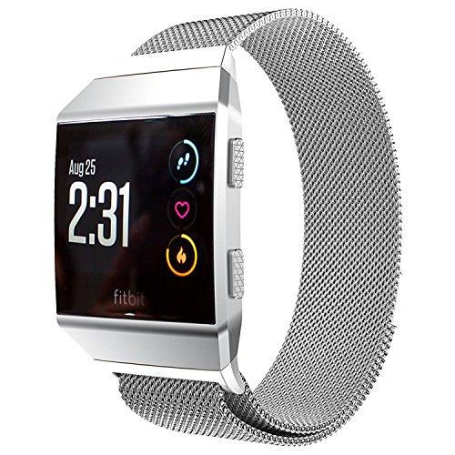 Fitbit Ionic Armband, PEMOTech Mailänder Schleife Edelstahl verstellbare Armband Strap Band Ersatz Fitness-Armband für Fitbit Ionic intelligente Uhr(2017) mit einzigartiger Magnetverschluss (Silber)
