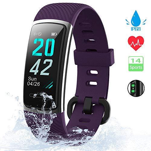 KUNGIX Fitness Armband, 0,96 Zoll Schrittzähler Uhr IP68 Wasserdicht Smartwatch Fitness Tracker mit Pulsmesser Herzfrequenz 14 Modi Smart Watch für Damen Herren iOS Android Kompatibel(Lila)
