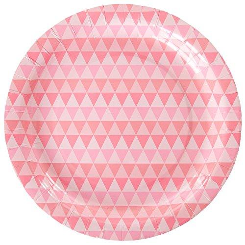 Geo Pappteller ER | 10| Ideal für Pastell und Rosa Motto-Partys ()