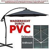 habeig WASSERDICHT Luxus Ampelschirm 3m Anthrazit durch PVC Schirm 300cm Sonnenschirm