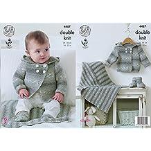 King Cole chaqueta deportiva con capucha 4487 patrón para tejer, para bebé con patucos en
