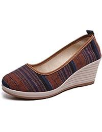 Chaussures Plates Brodées pour Femmes Old Beijing Cloth Shoes National Vent Plat Printemps et Été Nouveau Bleu Taille 35-40 (Couleur : Bleu, Taille : 39)