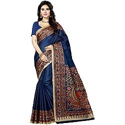 Rani Saahiba Kalamkari Printed Art Bhagalpuri Silk Saree ( SKR3061_Navy Blue )
