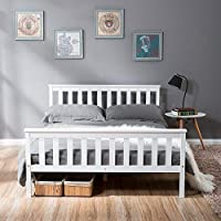 LIFE CARVER Double Bed Wooden Frame White Solid Pine for Adults, Kids, Teenagers (Double Bed)
