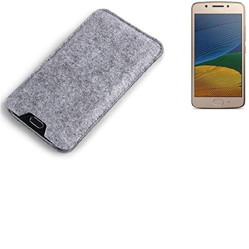 K-S-Trade Filz Schutz Hülle für Lenovo Moto G5 Single-SIM Schutzhülle Filztasche Filz Tasche Case Sleeve Handyhülle Filzhülle grau