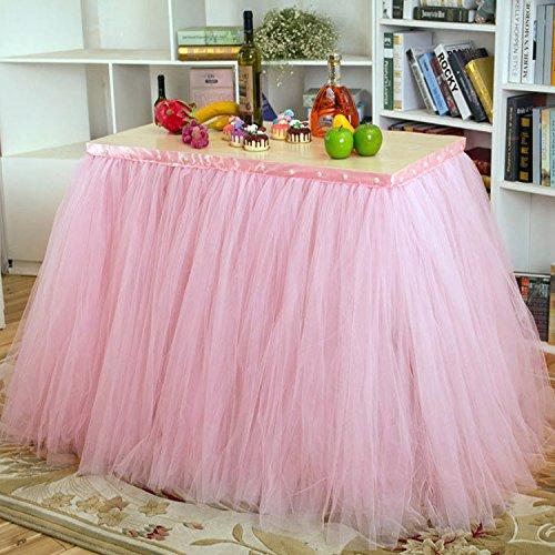 XUAN 80 cm * 91,5 cm Tabelle umfasst handgefertigte Tischdecke Geschirr für Hochzeit Party Baby Dusche Dekoration Tisch Röcke , pink