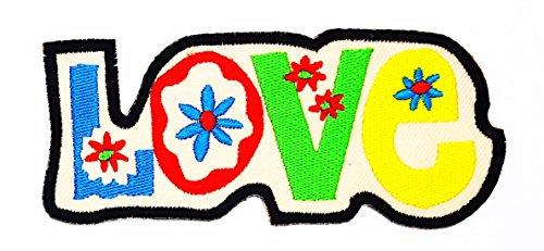 rabana Love Peace Sign Hippie Boho Retro Flower Power Summer Of Love Hip Cartoon Kids Kinder Cute Animal Patch für Heimwerker-Applikation Eisen auf Patch T Shirt Patch Sew Iron on gesticktes Badge Schild Kostüm