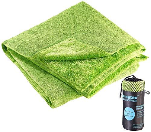 Semptec Urban Survival Technology Mikrofasertuch Badetuch: Mikrofaser-Badetuch, 2 versch. Oberflächen, 180 x 90 cm, grün (Badetuch extra dünn)