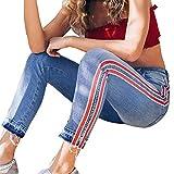 JERFER Damen Seite Gestreift Knöchellange Hose Dünne Stretchhose Jeans mit hoher Taille