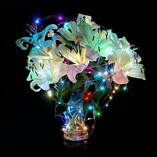 Lichterkette 30 LED 3m Draht Micro Lichterkette Batteriebetrieb für Party Garten Weihnachten Halloween Hochzeit Beleuchtung Deko (Bunt)