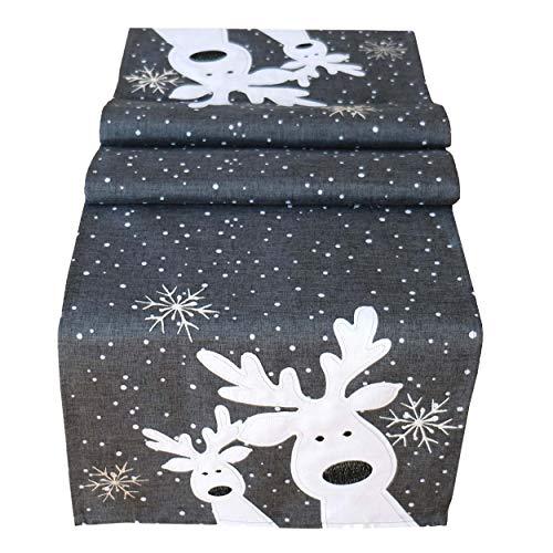 Tischläufer 40 x 85 cm grau weiß Silber, lustiger Elch, Rentier, Tischdecke, Weihnachten Weihnachtsdeko Weihnachtstischdecke kurz