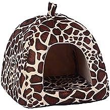 YUHUAWYH Katzenhöhle Hundehöhle Hundehaus Hunde Katzen Betten Haustier Höhle Bett (XXL:18.7*18.7*18.7Zoll,weniger als 7KG Haustier, Leopard)