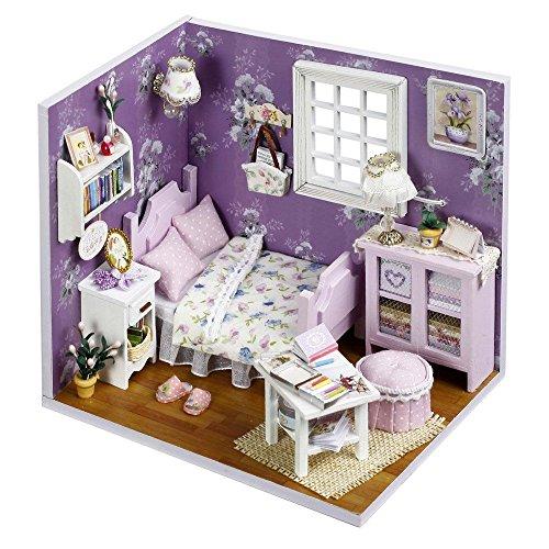 Karp Sweet Sunshine Series Dollhouse Miniature DIY House Kit Creative Room with Furniture and Accessories for Kids (Purple)