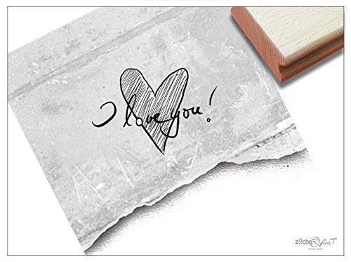 (Textstempel I LOVE YOU! mit Herz handschriftlich - Schriftstempel Hochzeitsstempel Liebe Valentinstag Heirat Karten Geschenk-Anhänger - zAcheR-fineT)