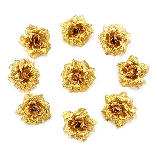 Dsgshds fiori finti per decorazioni interno fiori artificiali rose bomboniere decorazione per la casa ghirlanda fai da te scatola regalo artigianato fiore finto decorativo 30 pz/lotto 4.5 cm (oro)