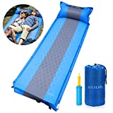 iBaseToy Self-Inflating Camping Sleeping Pad with Inflatable Pillow Ultralight Folding Air Mattress, Foam